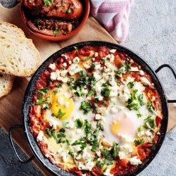baked eggs shakshuka chorizo